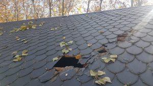 reparación de tejados de pizarra hojas